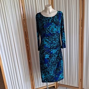 Chaps blue long sleeve dress with gathered side